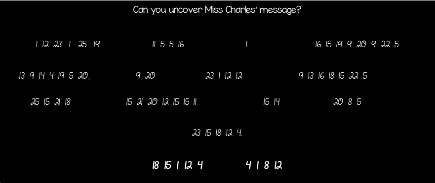 Uncover Miss Charles' message